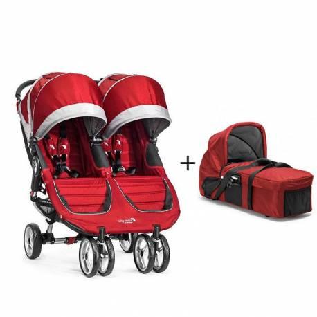 Cochecito City Mini Gemelar de Baby Jogger (Silla + 1 Capazo) color rojo