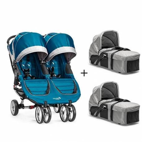 Cochecito City Mini Gemelar de Baby Jogger (Silla + 2 Capazos) color azul
