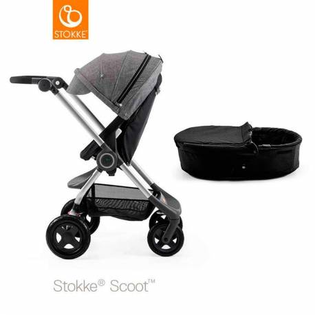 Cochecito de 2 Piezas Stokke Scoot negro negro melange capazo negro