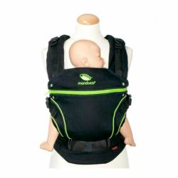 Mochila Portabebés Manduca Black Line de Crianza Natural screaming green
