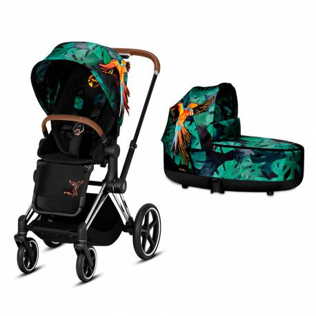 Cochecito de 2 piezas Priam de Cybex Edición Especial Birds of Paradise chrome marron