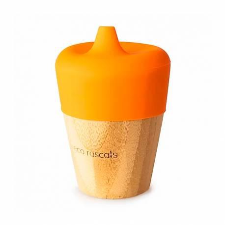 Vaso de Bambú Eco Rascals con Tapa 190 ml naranja