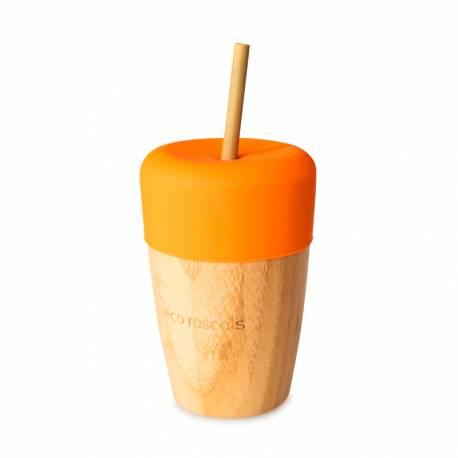 Vaso de Bambú Eco Rascals con Tapa y Pajita 240 ml naranja