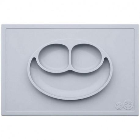 Bandeja con Plato de Silicona Happy Mat color gris claro